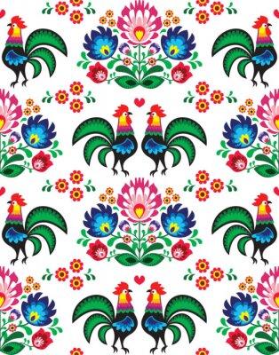 Plakát Seamless Polish folk art pattern - Wzory Lowickie, wycinanka