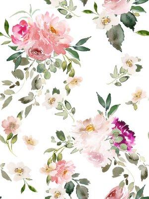 Plakát Seamless summer pattern with watercolor flowers handmade.
