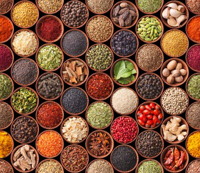 Plakát Seamless texture with spices and herbs