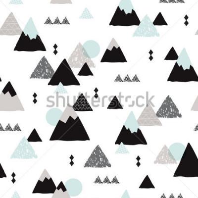 Plakát Seamless winter wonderland geometric japanese fuji mountain theme illustration triangle abstract landscape background pattern in vector