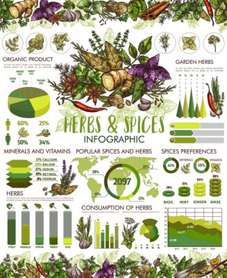 Plakát Seasonings, herbs and spices infographic