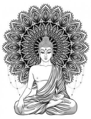 Plakát Sedící buddha přes ozdobený růže květ. Esoterické vintage vektorové ilustrace. Indický, buddhismus, duchovní umění. Hippie tetování, spiritualita, thajský bůh, jóga zen