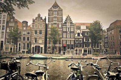Plakát šedý den v Amsterdam City
