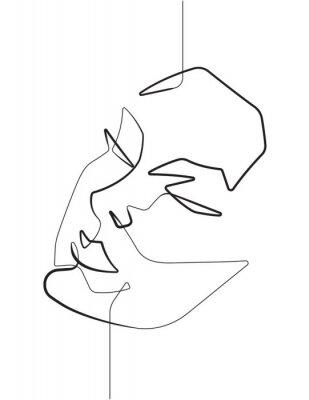 Plakát Serene Female Face One Single Continuous Line Vector Graphic Illustration