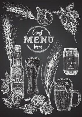 Plakát Set hand drawn sketch bottle and glasses beer, hop, wheat Vintage design bar, restaurant, cafe menu on on black chalk board background. Graphic vector art Template for flyer, banner, poster