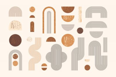 Plakát Set of Abstract Geometric Shapes with Line and Strips. Vector Elements for Web Design, Banner, Poster, Cover and Social Media Post. Collection Contemporary Minimalist Illustrations.