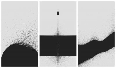 Plakát Set of black and white backgrounds with dust explosion and particle spraying