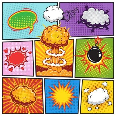 Plakát Set of comics speach and explosion bubbles 2
