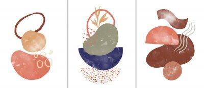 Plakát Set of digital art illustrations, contemporary minimalist abstract modern