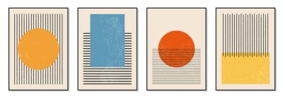 Plakát Set of minimal 20s geometric design posters, vector template with primitive shapes elements