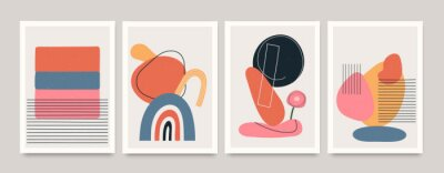Plakát Set of minimalistic geometric art posters with elements of geometric shapes and lines. Modern contemporary creative trendy abstract templates vector illustration.