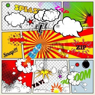 Plakát Set of Retro Comic Book Vector Design elements, Speech and Thought Bubbles