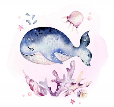 Plakát Set of sea animals. Blue watercolor ocean fish, turtle, whale and coral. Shell aquarium background. Nautical marine hand painted illustration.