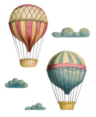 Plakát Set of steampunk elements - air balloons and clouds. Hand drawn colored pencils illustration.
