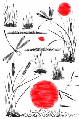 Plakát Set of sun,   bulrush, grass and dragonflies.  Watercolor and ink illustration in style sumi-e, u-sin, go-hua. Oriental traditional painting. Isolated .