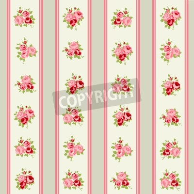 Plakát Shabby Chic Rose Patterns and seamless backgrounds