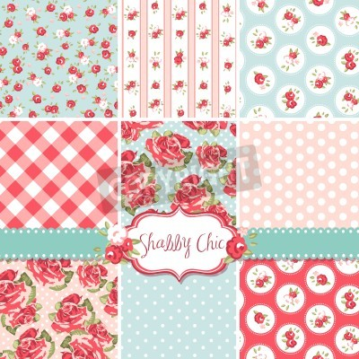 Plakát Shabby Chic Rose vzory a bezproblémové prostředí. Ideální pro tisk na papír nebo textilie a šrotu rezervaci.