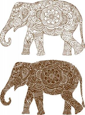 Plakát silueta slona v indických mehendi vzory