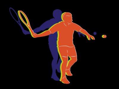 Plakát siluetu tenista, vektorové kreslení