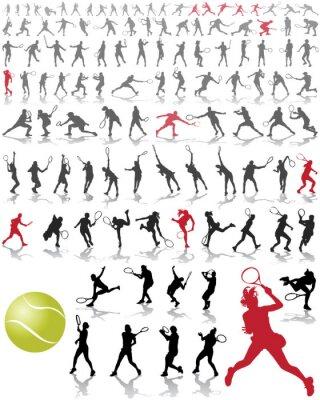 Plakát Siluety a stíny tenistů, vektorové ilustrace