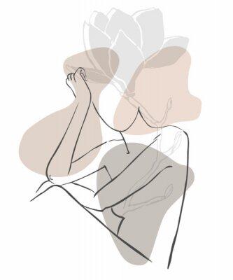 Plakát Simple hand drawn trendy line silhouette woman. Modern minimalism art, aesthetic contour. Abstract women's silhouette, minimalist style. Scandinavian print