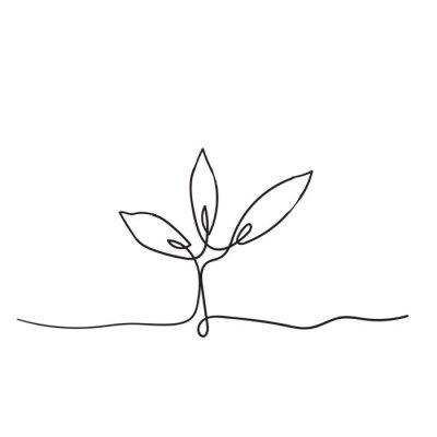 Plakát Single continuous line art growing sprout handdrawn doodle style