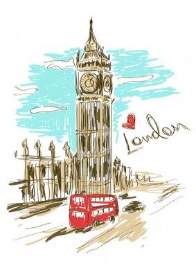 Plakát Skica ilustrace Big Ben věž