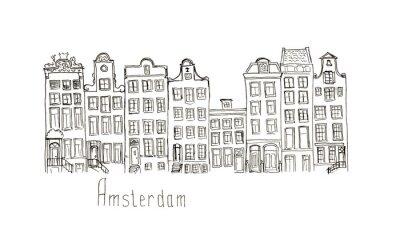 Plakát Skica Nizozemsko Amsterdam domy izolovaný nápisy