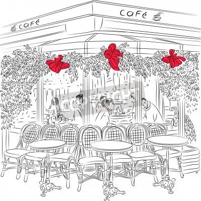 Plakát skica pařížské kavárně s vánoční ozdoby