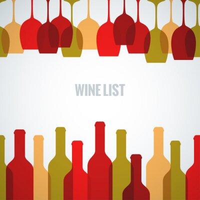 Plakát sklenice na víno láhev výtvarné pozadí