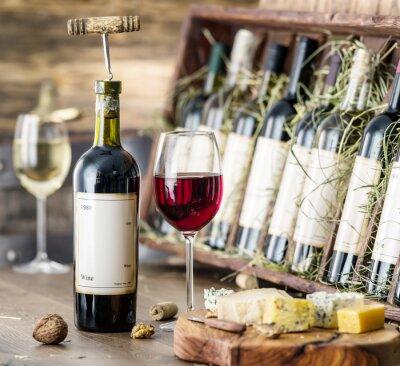 Plakát Sklenice vína a sýrů desky.