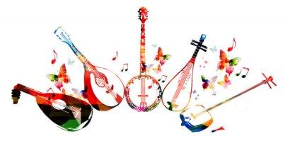 Plakát Skupina hudebních nástrojů s motýly