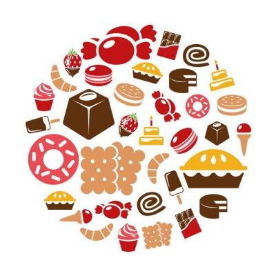 Plakát sladkosti ikony v kruhu