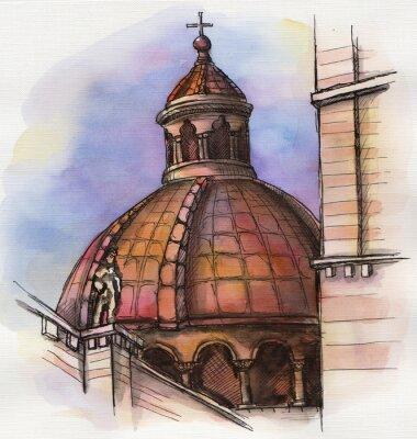 Plakát slavná budova Florencie Santa Maria Ruční kresba akvarel