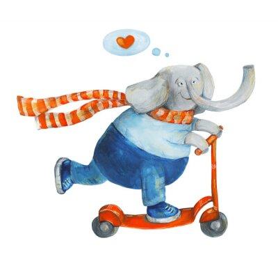 Plakát Slon na koloběžce se srdcem. Láska. Akvarel a kvaš Ilustrace