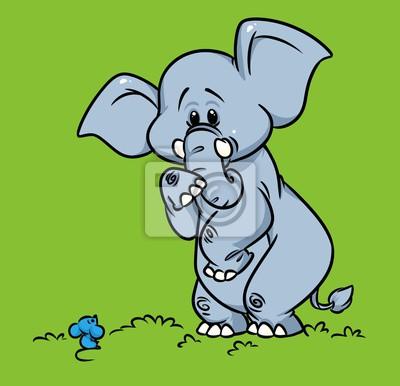Plakát Slon se obávají myši kreslené ilustrace zvířecí charakter