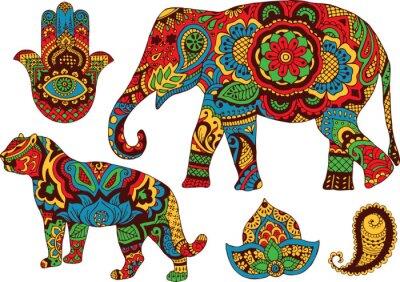 Plakát slon, tygr, Butt a lotus, ručně malované ve stylu mehendi