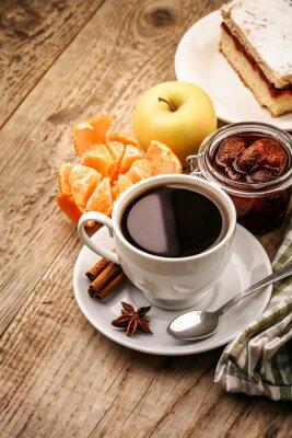 Plakát Snídaně s kávou a ovocem