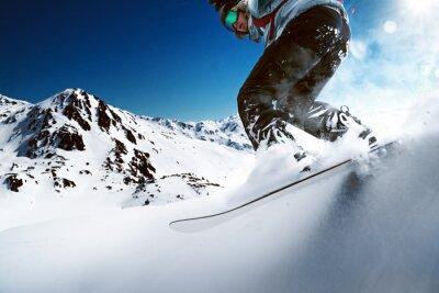 Plakát Snowboardista jízdě z kopce