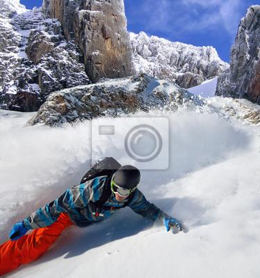 Plakát Snowboardista volný jezdec na horách