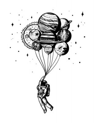 Plakát Soaring Spaceman. Astronaut with planets. Balloons in space. Man in the solar system. Engraved hand drawn Old sketch in vintage style.