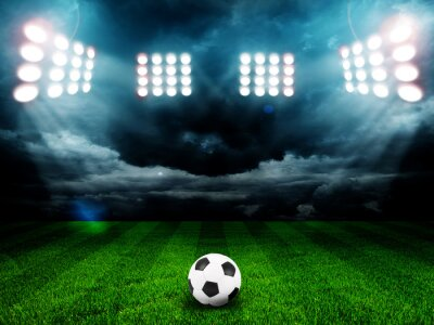 Plakát Soccer ball on the field of stadium with light