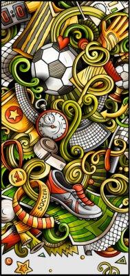 Plakát Soccer hand drawn doodle banner. Cartoon detailed illustrations.