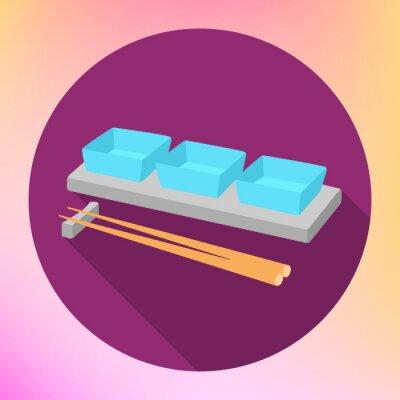 Plakát sojová omáčka omáčka člun a hůlky s plochou vektor znamení. Sauceboat Deska s jídelní hůlky pro servírování japonské jídlo.
