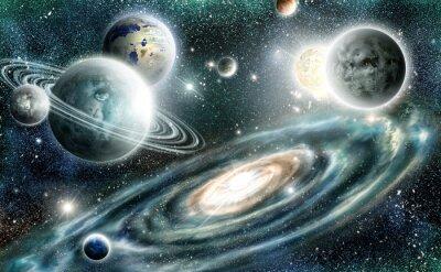 Plakát Solární systém a spirální galaxie
