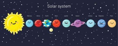 Plakát Solární systém s líbezným úsměvem planet, Slunce a Měsíce.