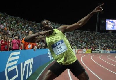 Plakát Soluň, Řecko - září 12,2009: Usain Bolt skončí první, na 100 m mužů na IAAF World Athletics finále hlavního turnaje na Kaftatzoglio Stadium