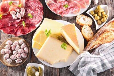 Plakát sortiment sýrů, masa