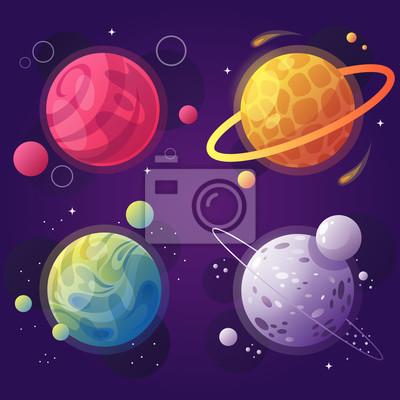 Soubor Kreslenych Planet Ve Vesmiru Vektorove Ilustrace Moderni