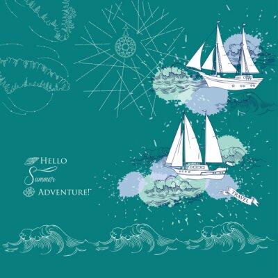 Plakát Souvislosti s lodí a waves.Hand vypracované moře, vlny a jachty. vektorové ilustrace
